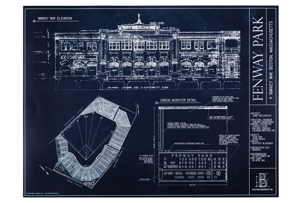 Architectural blueprints of your favorite stadiums like fenway fenway park boston red sox from ballpark blueprints ballpark blueprint wall art baseball stadium malvernweather Choice Image
