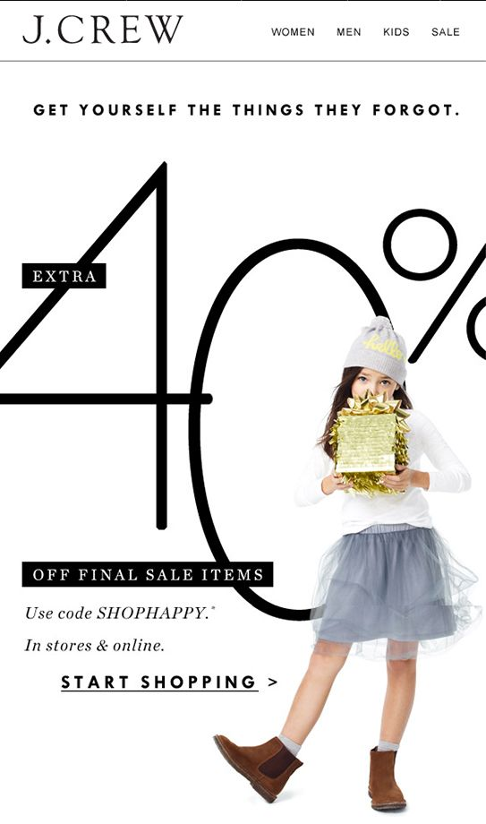 jcrew email marketing design - christmas follow-up sale More ideas - follow up email
