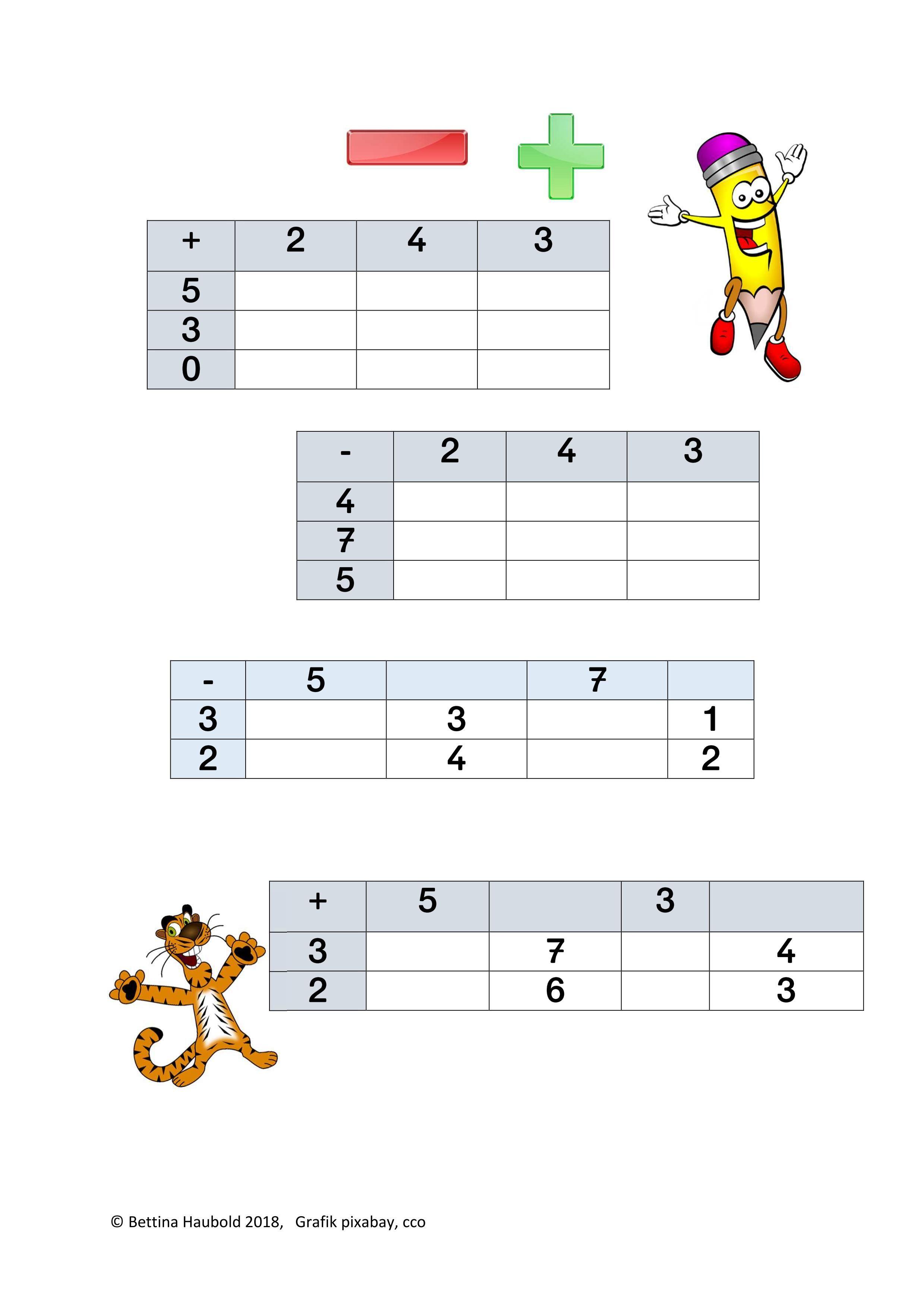 Rechnen in Tabellen im ZR bis 8 – Mathematik | Mathematik | Pinterest