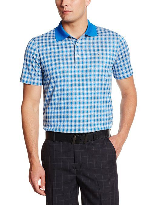 2c818ee81 Made from 100% polyester this mens short sleeve shadow gingham golf polo  shirt by Izod has the Izod logo on chest and is machine washable