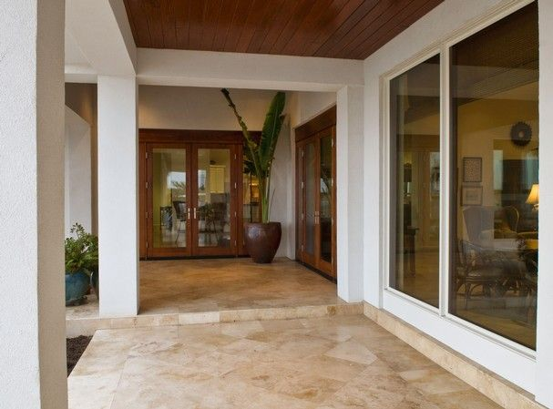 Travertine entryway
