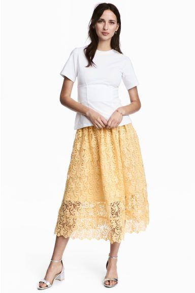 91816235 Koronkowa spódnica | Spódnice | Spódnica, Żółty i Do połowy łydki