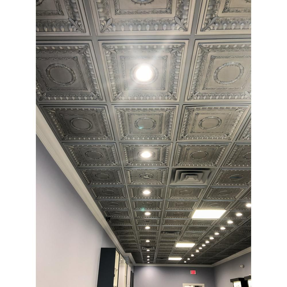 Udecor Royal 2 Ft X 2 Ft Lay In Or Glue Up Ceiling Tile In Antique Nickel 40 Sq Ft Case Ct 1095 Sxys The Home Depot In 2020 Tin Ceiling Tin Ceiling Tiles Ceiling Tiles