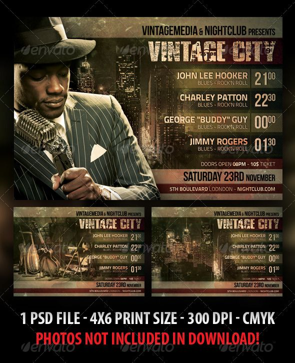 Vintage City Concert Flyer  Jazz Fonts And Festivals