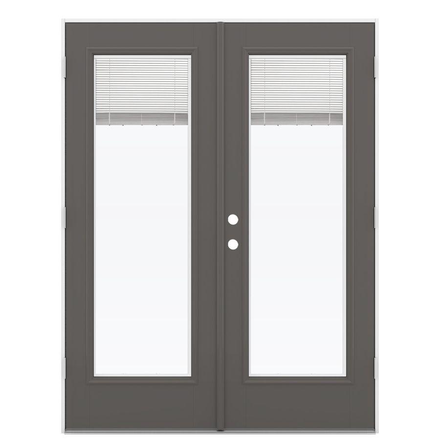 Shop Reliabilt 59 5 In Blinds Between The Glass Timber Gray Fiberglass French Outswing Patio Door At Lowe French Doors Patio Patio Doors Fiberglass Patio Doors