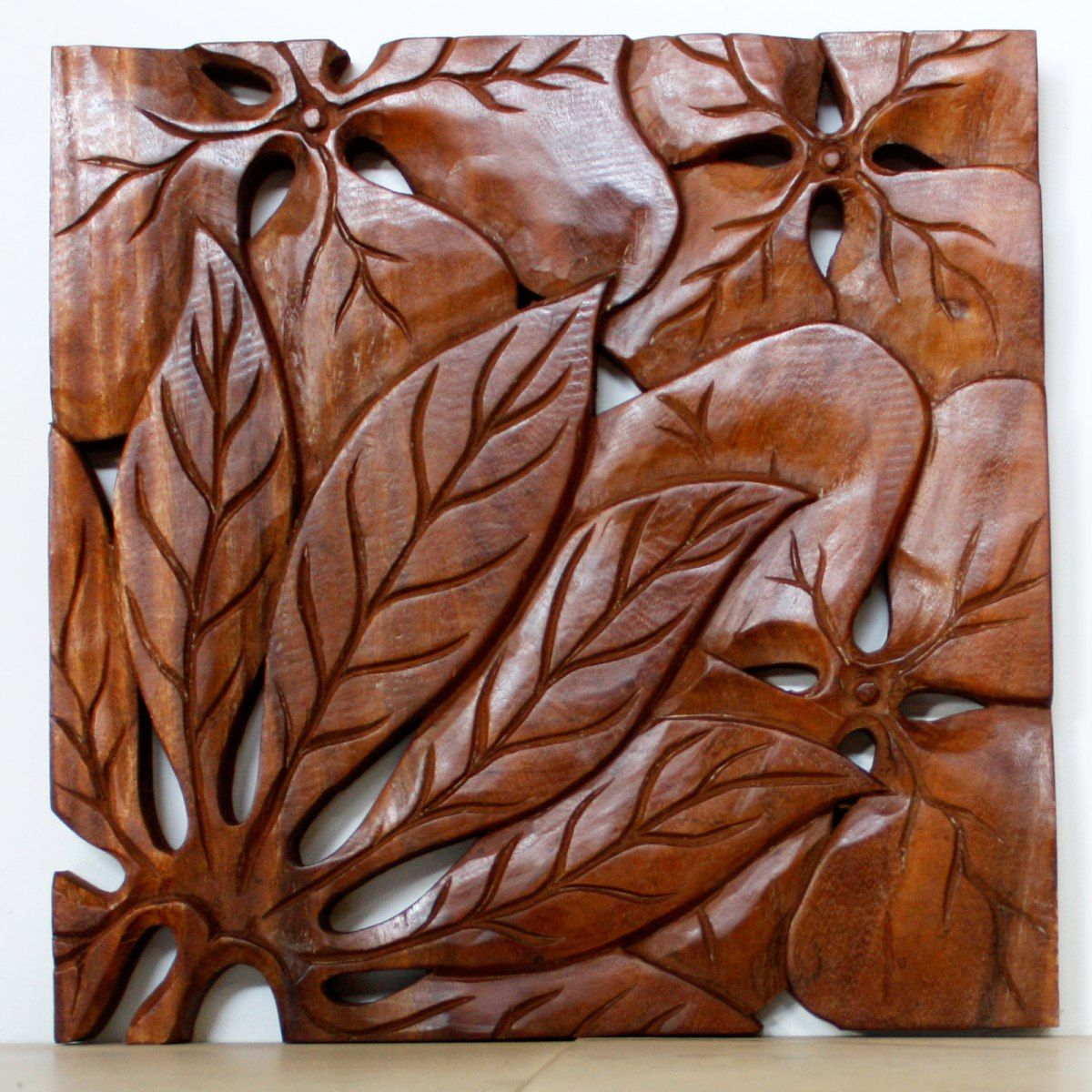 Carved Wooden Leaf Wall Art Wall Decor Leaf Panel Set Carved Wood