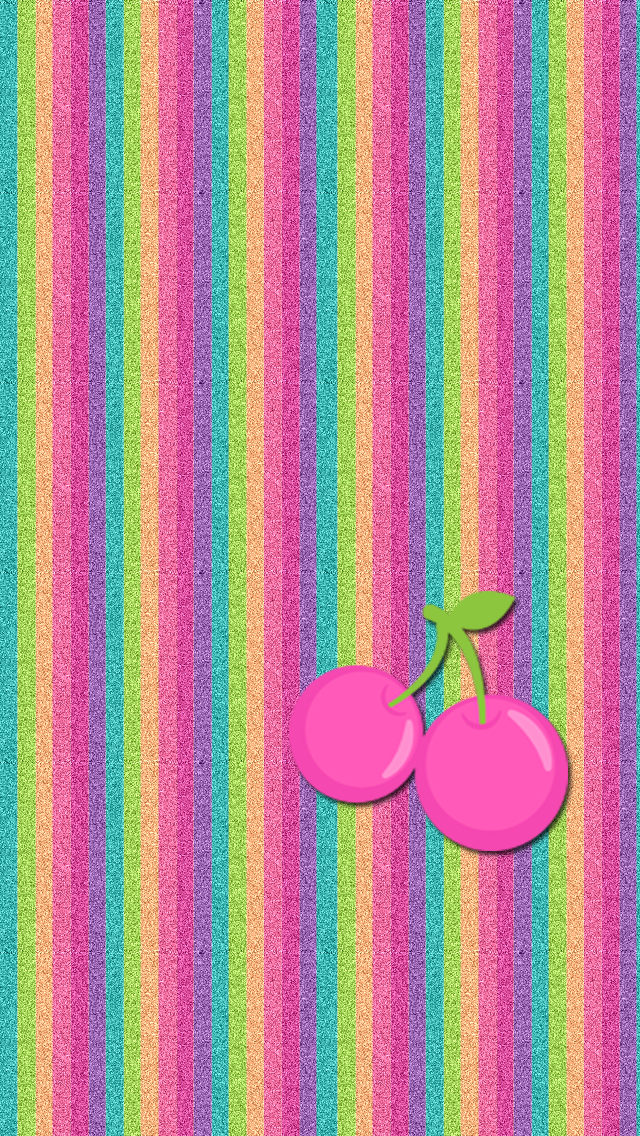 Rainbow Stripes Cherries Wallpaper