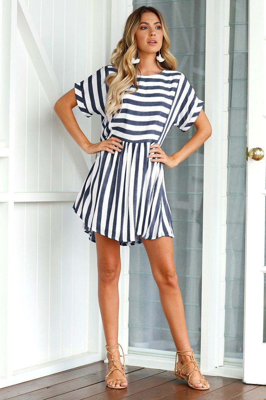 Wedding decorations royal blue october 2018 Dark Blue Short Sleeve Stripe Summer Dress in   Style  SS
