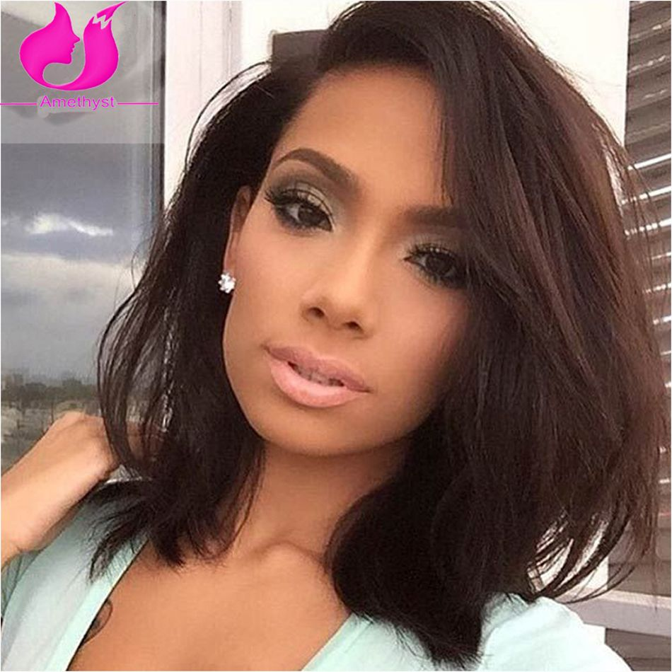 """Natural Straight Full Lace Human Hair Wig Short Bob Virgin Lace Front Wig For Black Women Brazilian Virgin Hair Bob Wigs On Sale 8""""--10"""",130 density, natural straight full lace wigs and lace front wigs  our Store No.1292601 on Aliexpress Whats App:+86 15063081830"""