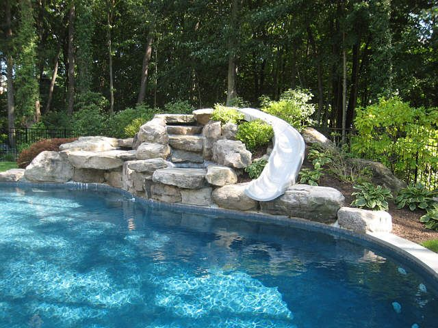Backyard Pools With Slides pool - water feature with slide | for the home | pinterest | pool