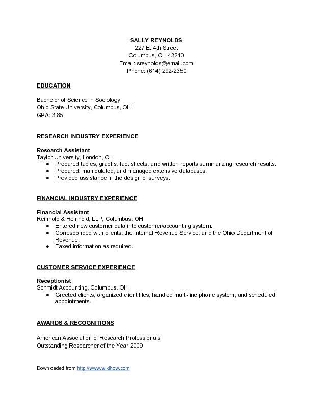 Combination Resume Template Sample Combination Resume  Wikihow  Work Stuff  Pinterest