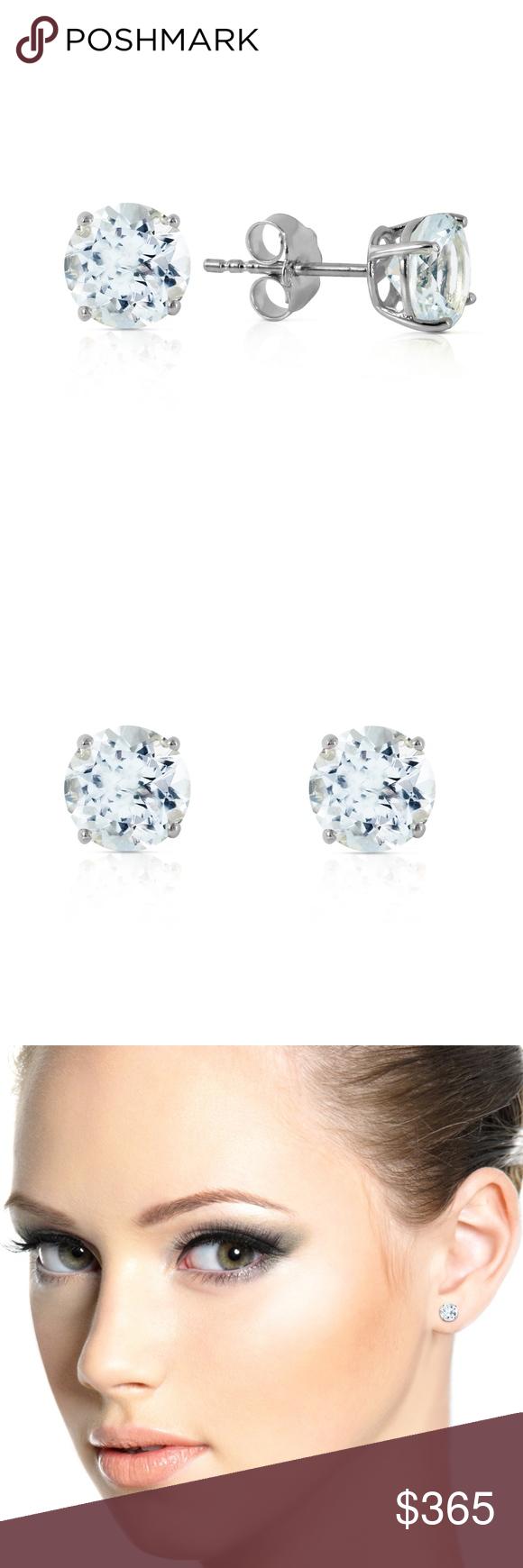 Silver Post Earrings Blue Aquamarine Studs Natural Aquamarine Earrings Stud Earrings