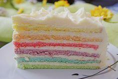Geheime Rezepte: Regenbogentorte Mmmmmhhhh ... habe den Teig mit Tonkabohne verfeinert .... lecker  Buttercreme nur mit 500g Butter!