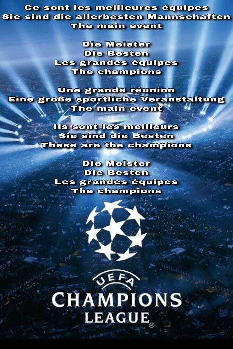 Champions league anthem lyrics | Anthem lyrics, Champions league ...