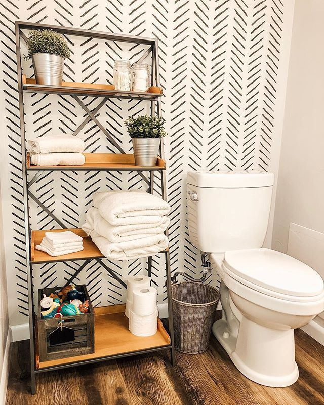 Painted And Stenciled Accent Wall Bathroom Makeover Ideas