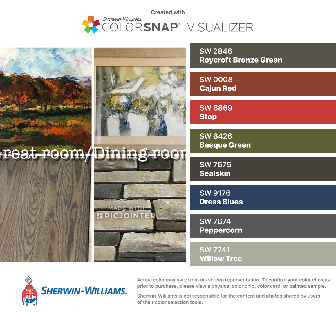 I Found These Colors With Colorsnap Visualizer For Iphone By Sherwin Williams Roycroft Bronze Green Sw 2846 C House Paint Exterior Exterior Paint Roycroft [ 1088 x 1158 Pixel ]