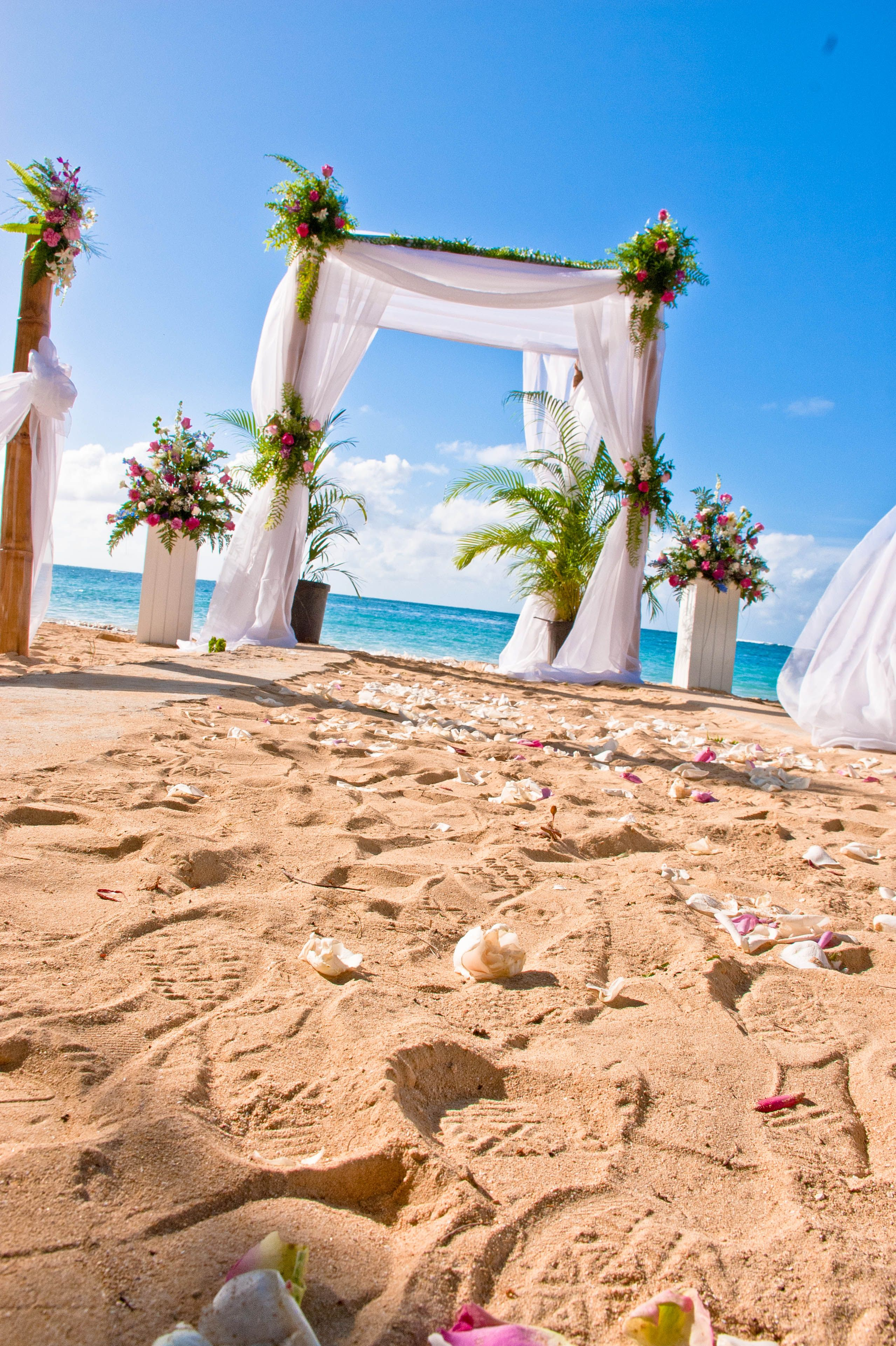 Beach Wedding Bamboo Arch Done By Helen G Events Jamaica