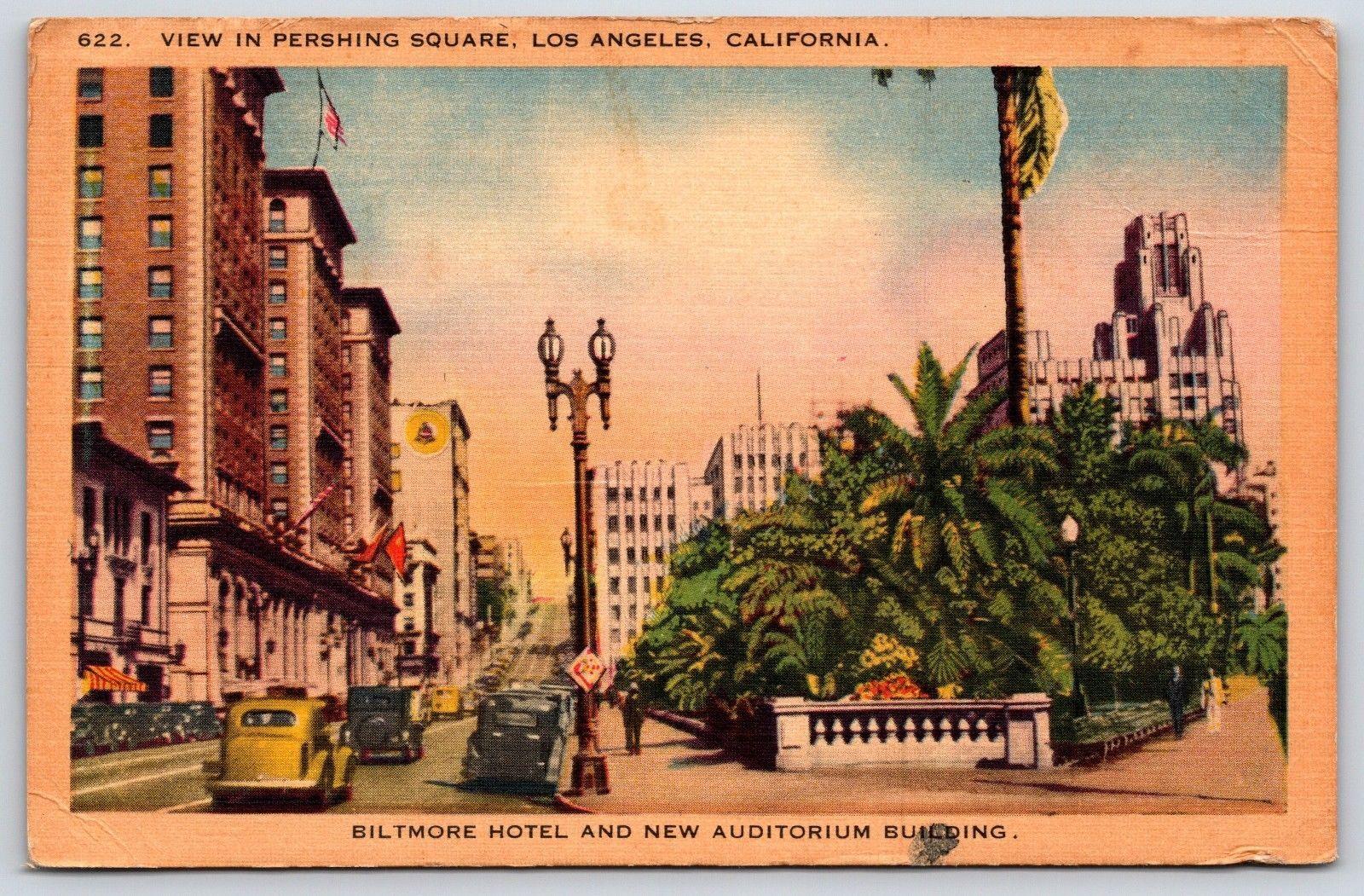 Biltmore Hotel Auditorium Pershing Square Los Angeles California Linen Postcard 5 99 Biltmore Hotel Auditori California Postcard Postcard Vintage Postcard