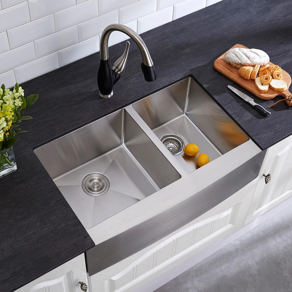 Glacier Bay Farmhouse Apron Front Stainless Steel 33 In. Double Basin 60/40 Kitchen  Sink Kit In Satin