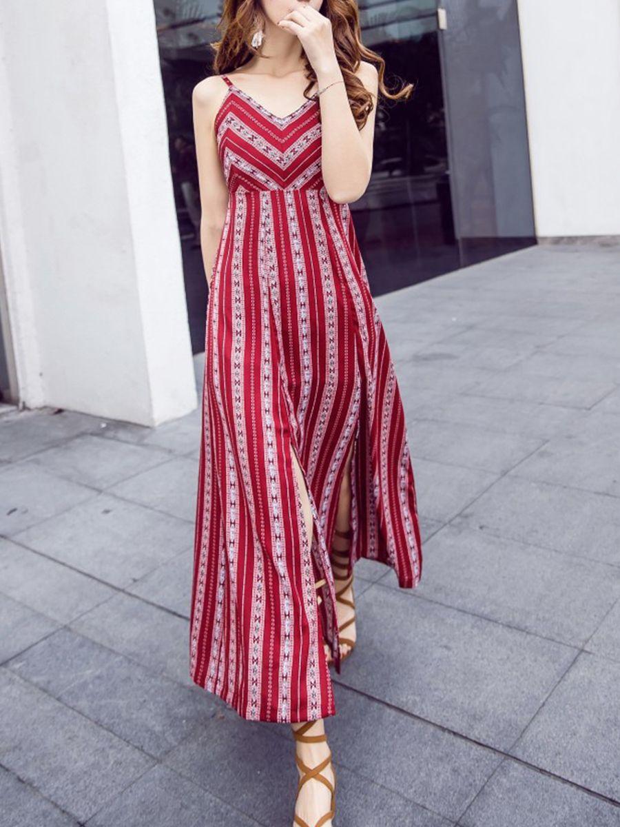 0d5bdd66111fc V Neck Cross Straps Slit Striped Maxi Dress-Berrylook  longmaxidresses   maxidresses Vestidos Simples