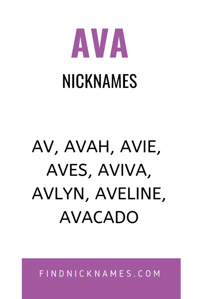 40 Fantastic Nicknames For Ava Find Nicknames Nicknames For Girls Cute Nicknames Nicknames For Baby Girls
