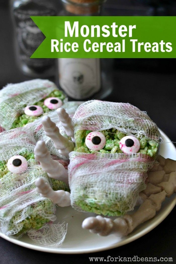 Monster Rice Cereal Treats - a #vegan & gluten-free treat for #Halloween