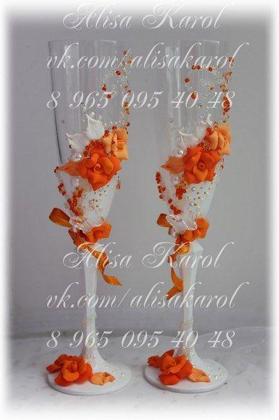 Wedding champagne glasses with handmade orange roses by AlisaKarol