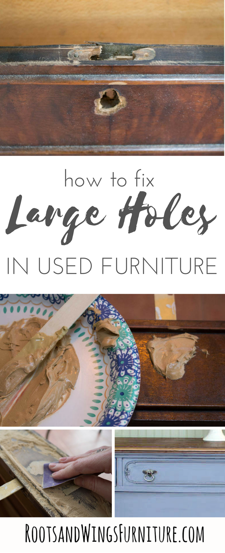 Furniture Repair Filling Large Holes In Wood Roots Wings Furniture Llc Vintage Furniture Diy Furniture Repair Refurbished Furniture Diy