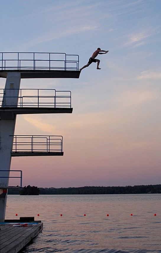 Dive Off The High Dive At The Swim Club Facing Fears High Diving Diving Board Running On The Beach