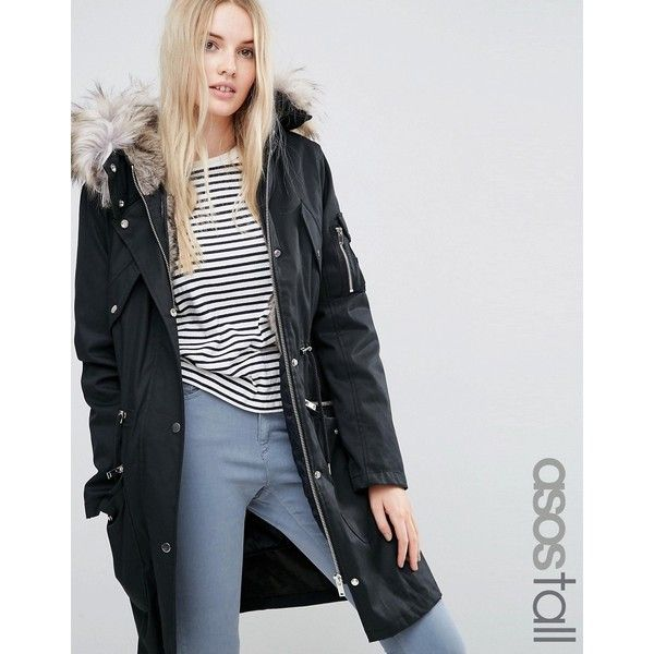 4ea74db80f06d ASOS TALL Parka With Detachable Faux Fur Liner (8,090 INR) ❤ liked on  Polyvore featuring outerwear, coats, black, faux fur hooded parka,  imitation fur ...