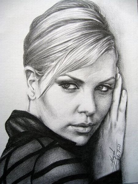 Pencil drawings of actors charlize theron