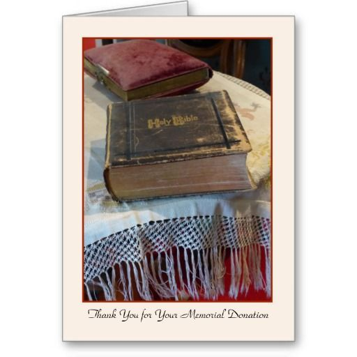Thank You for Your Memorial Donation Vintage Bible Cards