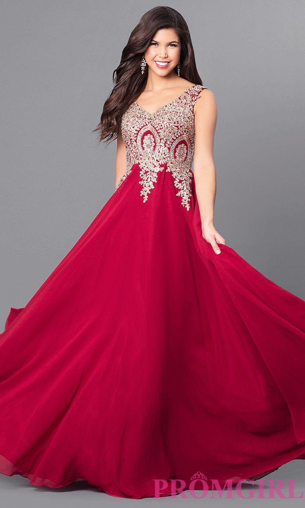 89536476dddd Long V-Neck Prom Dress with Beaded Lace Applique | Dreamboard | Prom ...