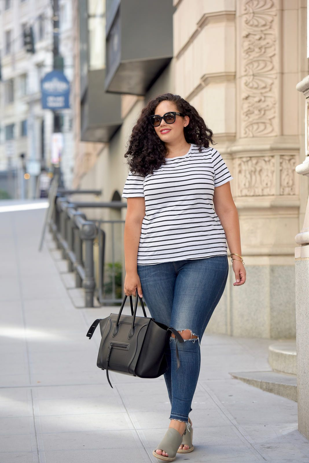 19cb4b65ab2 Tanesha Awasthi (formerly Girl With Curves) wearing a stripe tee