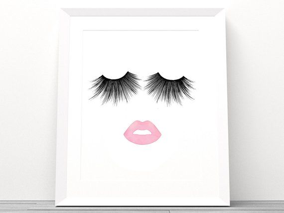 0140dc29c9f Lips & Lashes Makeup Print INSTANT Download Digital Printable Watercolor  Wall Decor Ar