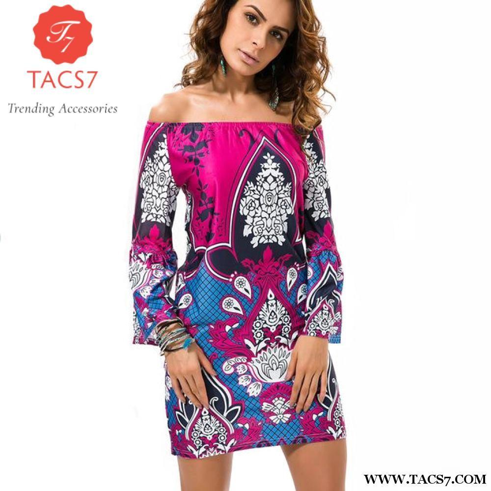 Fashion european style robe dress flower print woman clothes