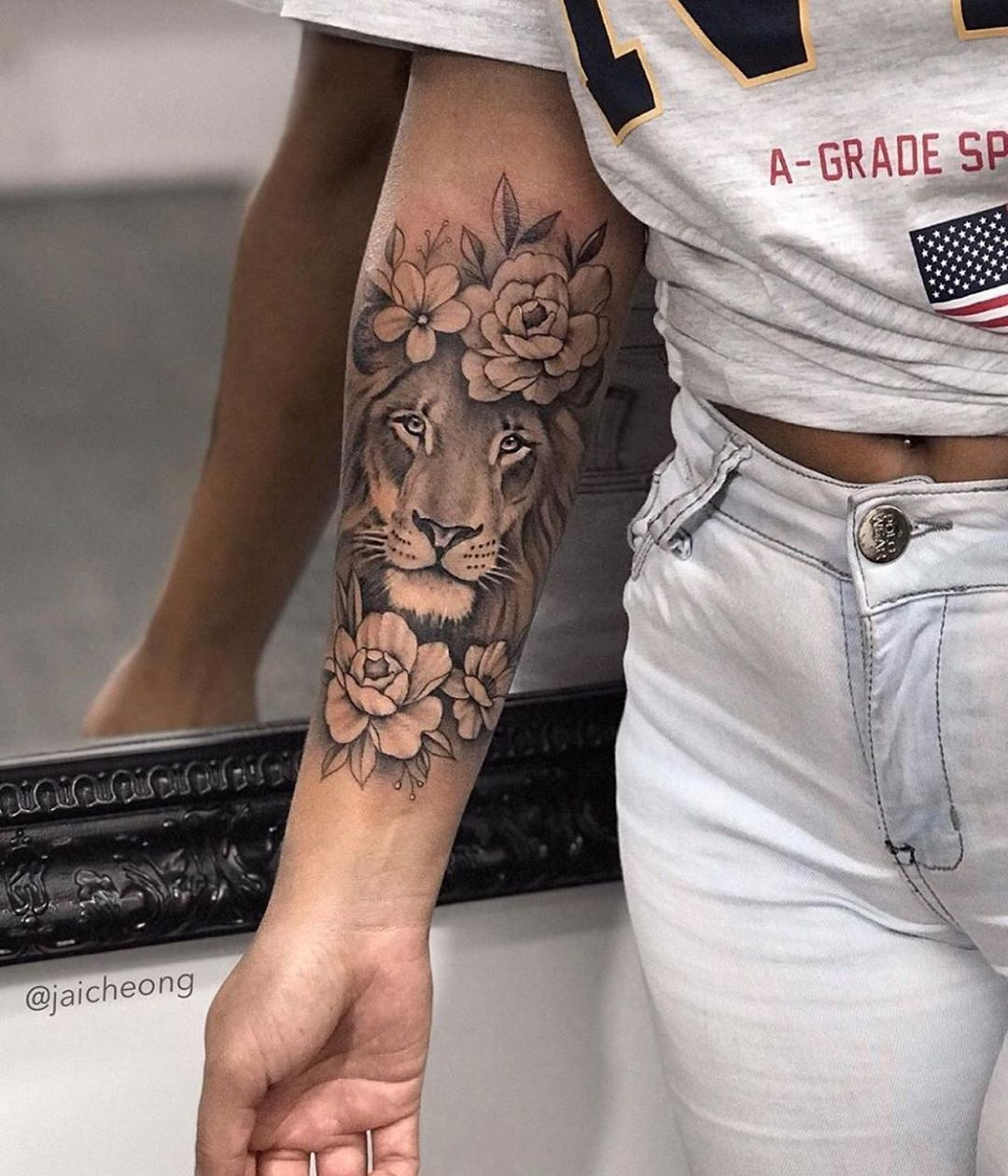 "Female tattoos ☽ Tattoos on Instagram: ""One more to our list of floral lion …"