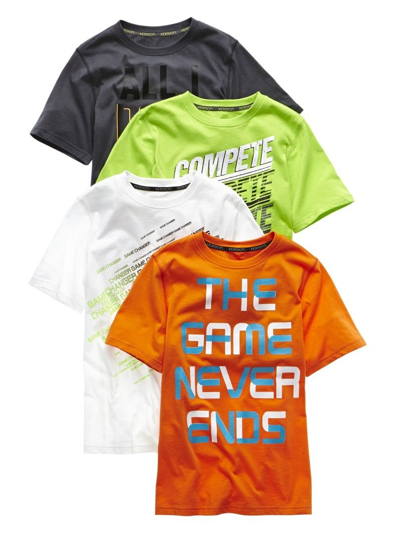 Featuring versatile colors in rich cotton and cool screen prints, a graphic tee from Xersion lets him relax in style.