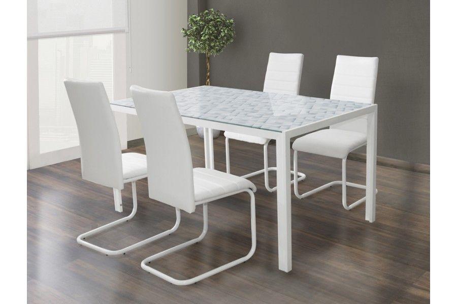 Conjunto de comedor modelo origami color blanco compuesto por mesa ...