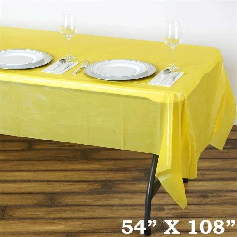 Spotless Elegance 54x108 Disposable Plastic Table Cover Yellow Space Cake Table Cover Plastic Table Covers Waterproof Tablecloth Table Cloth