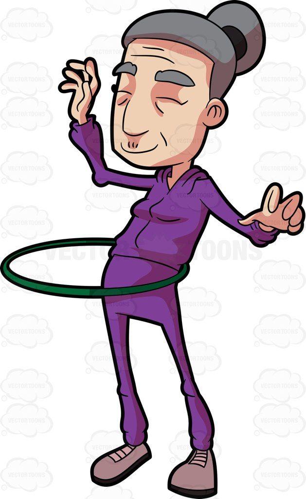 A Grandma Playing With A Hula Hoop Cartoon Clip Art Cartoon Stock Art