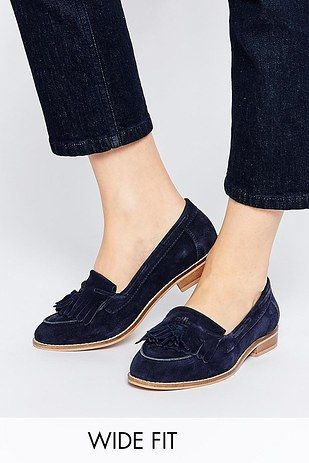 """30ac343f0d9 Asos """"Main Chance"""" Wide Fit Leather Flats"""