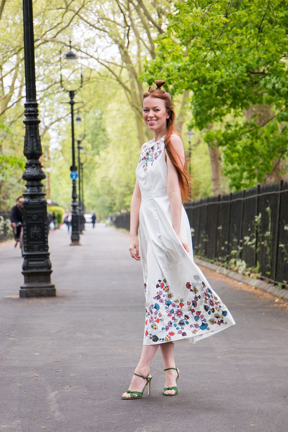 fadda888516 Jasmin of  teaandtwigs wears our white embroidered Boden ICONS Joan dress  with our Martha heels. Shop the limited edition Spring collection at ...