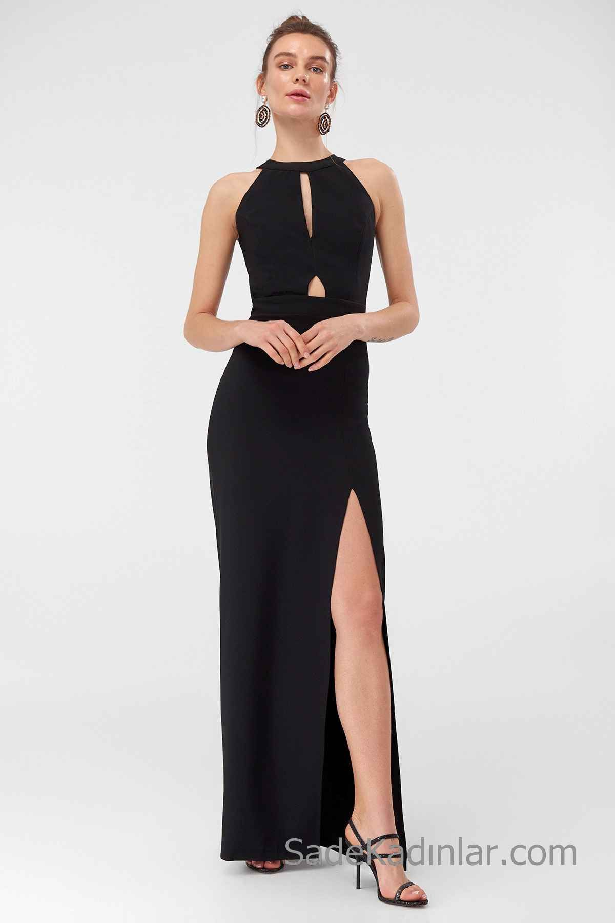2020 Uzun Abiye Modelleri Siyah Uzun Halter Yaka Dekolteli Onden Yirtmacli Aksamustu Giysileri Elbise The Dress