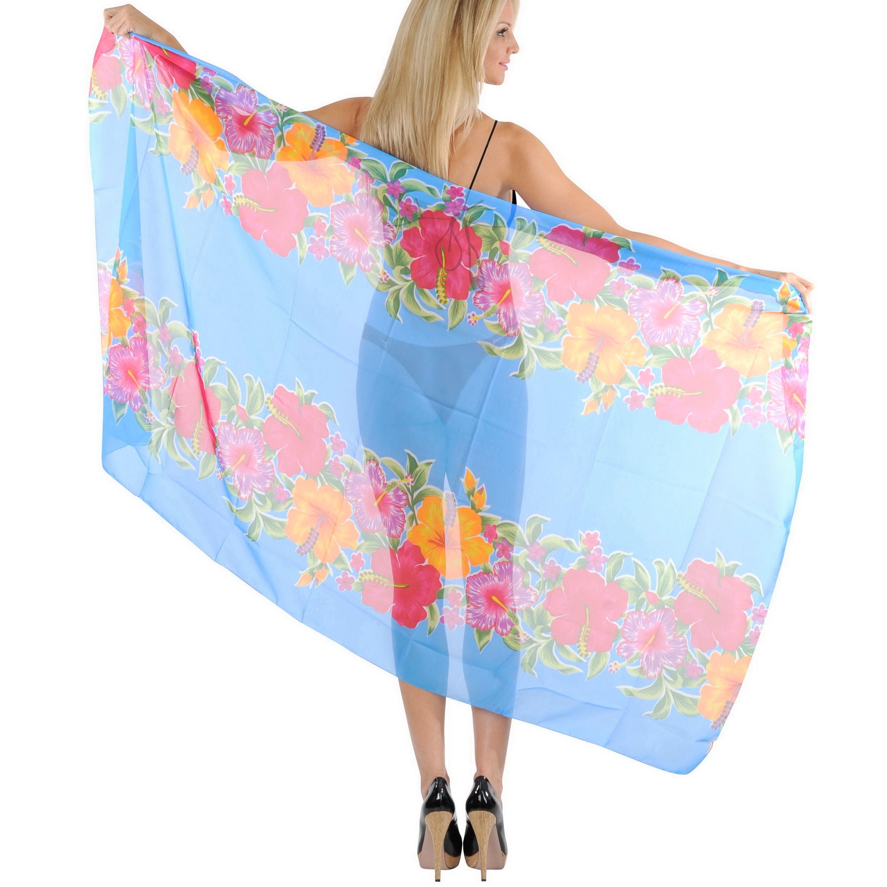 La Leela Cover up Sarong Beachwear 3 in 1 Hawaiian Pareo Shawl Scarf Pretty Women Women's