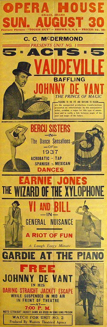 Vaudeville Poster With Images Magic Illusions Vaudeville