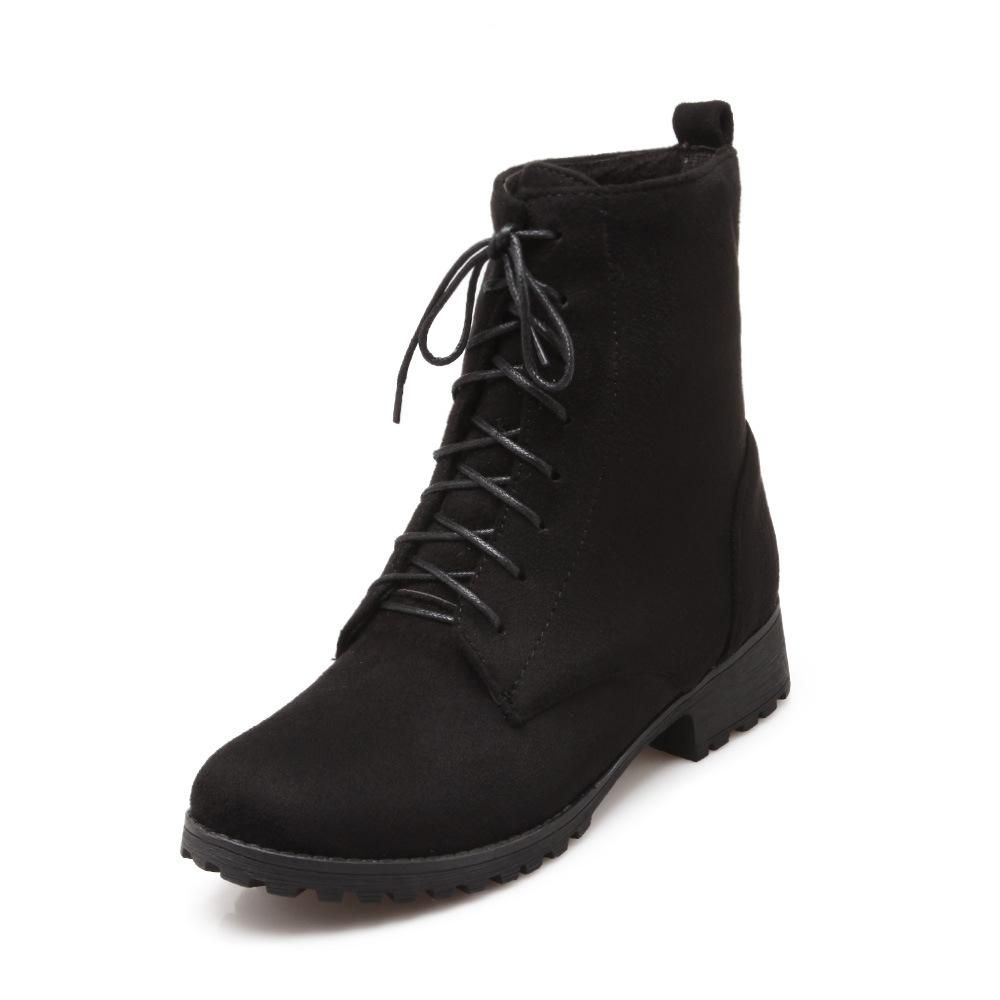 Lace Up Short Motorcycle Boots Plus Size Women Shoes 9857 ...
