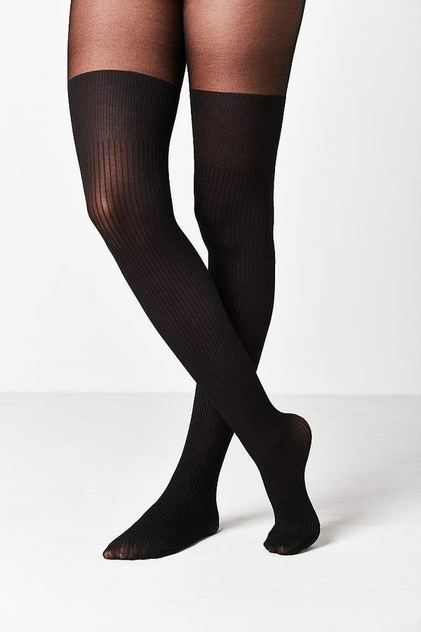 c6883125766 Out From Under Ribbed Faux Thigh High Sheer Tight