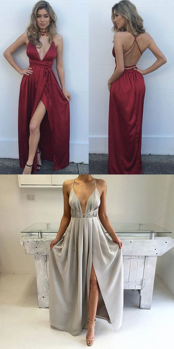 ebf615f84a9 Silk Satin A Line Floor Lengwth V Neck Spaghetti Straps Open Back High Slit  Nature Waist Fully lined 100% polyester Spot clean Prom