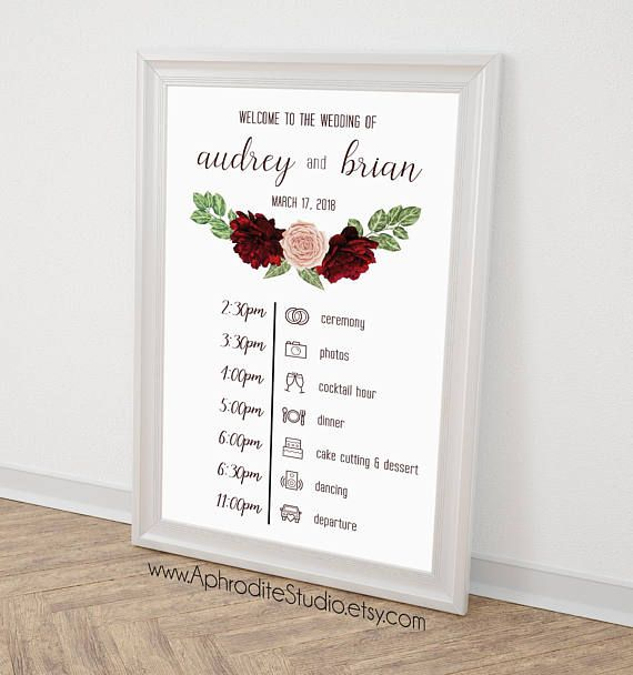 Wedding Timeline Sign Wedding Itinerary Agenda Wedding